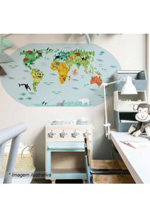 Adesivo De Parede Mapa Kids- Azul & Verde- 131X65Cm