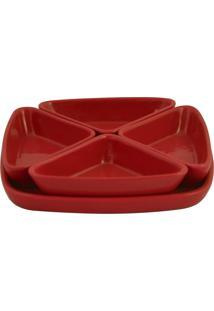 Conjunto De Molheiras 45Ml Cerâmica Vermelha Mondoceram Gourmet