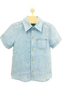 Camisa Infantil Pandi Bolso Pesponto Masculino - Masculino-Azul