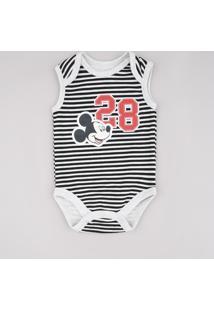 Body Infantil Mickey Listrado Sem Manga Cinza Mescla Claro