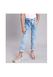 Calça Jeans Infantil Clochard Marmorizada Azul Claro