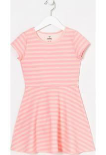 Vestido Infantil Com Listras Neon - Tam 5 A 14 Anos