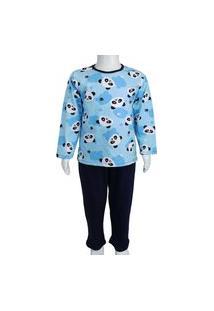 Conjunto Pijama Menino Infantil Katitus Panda Azul