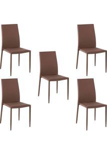 Kit 5 Cadeiras Decorativas Sala E Cozinha Karma Poliã©Ster Cafã© - Gran Belo - Cafã© - Dafiti