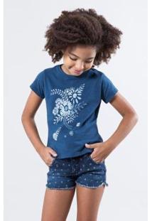 Camiseta Infantil Floral Tinta Reserva Mini Feminina - Feminino-Azul Petróleo