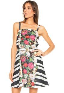 Vestido Lança Perfume Curto Estampado Branco/Rosa