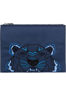 Kenzo Clutch Bordada 'Tiger' - Azul