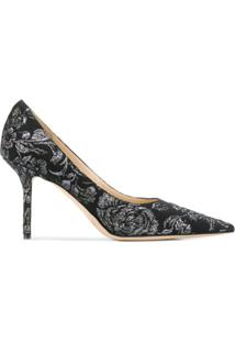 Jimmy Choo Sapato Love Com Bordado Floral E Salto 85Mm - Preto