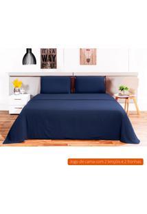 Jogo De Cama Casal Loft Azul Marinho 220X240 Cm