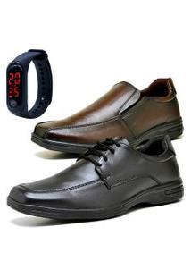 2 Pares Sapato Social Fashion Com Relógio Led Fine Dubuy 231-232El Preto