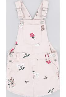 Jardineira Short Saia De Sarja Infantil Estampada Floral Rosê