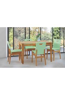 Sala De Jantar Com Mesa E 4 Cadeiras Tucupi 120Cm - Acabamento Stain Nózes E Verde Sálvia