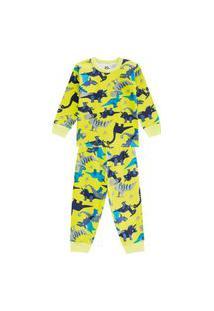 Pijama Em Malha Com Estampa Dino Brandili Verde