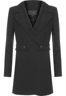 Casaco Feminino Trench Coat Detalhe Martigale - Preto