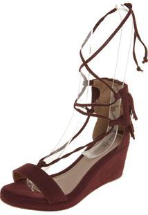 1616145b7 Sandália Dafiti Shoes Anabela Franja Vinho