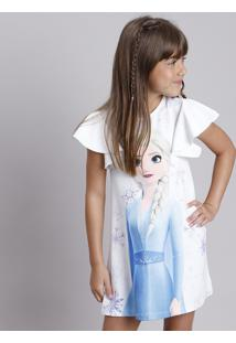 Vestido Infantil Elsa Frozen Com Babado Na Manga Branco