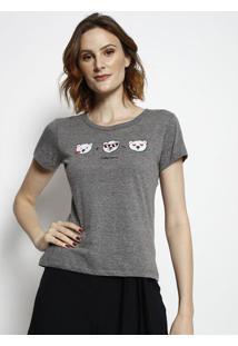 """Camiseta """"Cokeâ® Jeans"""" & Ursos- Cinza & Branca- Cocacoca-Cola"""