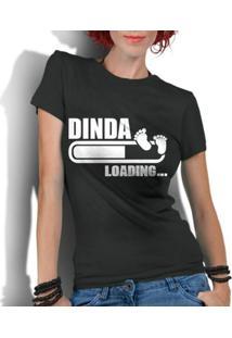 Camiseta Criativa Urbana Frases Dinda Madrinha Loading - Feminino-Preto