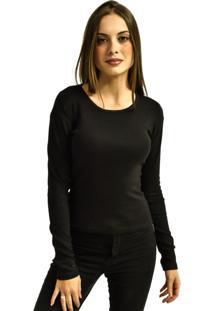 Camiseta Nakia Manga Longa Básica Feminina Lisa Malha Preta - Kanui