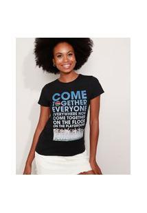 "Camiseta Feminina Now United ""Come Together"" Manga Curta Decote Redondo Preta"