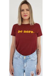 T-Shirt Baby Look Aero Jeans Be Aero Bordô
