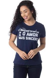 Camiseta O Amor Mais Sincero Thiago Brado 6027000005 Marinho - Marinho - Pp - Feminino-Marinho