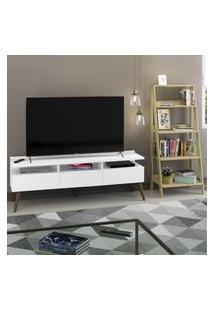 Rack Para Tv Até 65 Polegadas Madesa Londres E Estante Escada Branco/Carvalho Branco