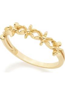 Anel Rommanel Skinny Ring Com Flores Estilizadas - Feminino