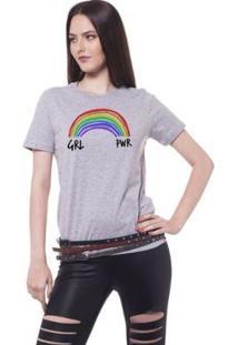 Camiseta Joss Girl Power Arco-Íris Feminina - Feminino-Cinza