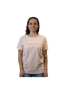 Camiseta Feminina Nego Joe Lettering Leve - Rosa Multicolorido