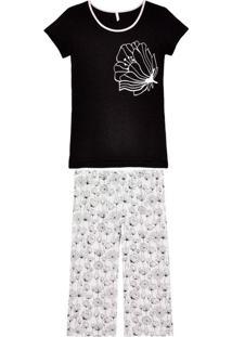 Pijama Feminino Jogê Pescador Viscolycra Floral