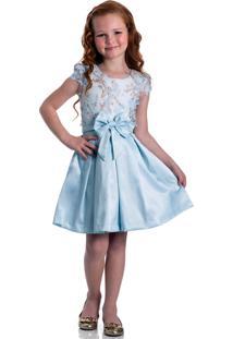 Vestido Festa Infantil Serelepe Jardim Azul Claro