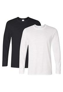 2 Camiseta Manga Longa Algodáo 100% Básica Lisa Camisa Blusa