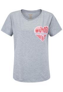 Camiseta Liga Da Justiça Mulher Maravilha Heart - Feminina - Mescla