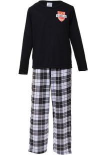 Pijama Juvenil Menino Longo Família Time Xadrez
