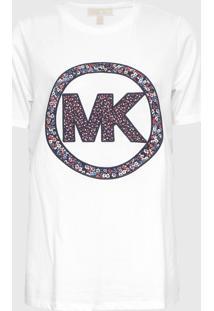 Camiseta Michael Kors Elv Crclogo Smrcmp Branco - Branco - Feminino - Dafiti