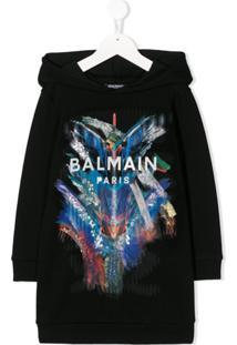 Balmain Kids Vestido Com Estampa De Logo E Capuz - Preto