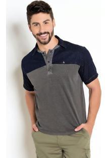 Camisa Cinza Polo Detalhes Em Jeans Maquinetado.