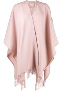 Moncler Poncho De Lã Com Cinto - Rosa