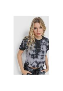 Camiseta Cropped Calvin Klein Jeans Tie Dye Preta/Cinza