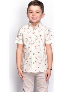 Camisa Social Infantil Menino Estampada Manga Longa Casual - Kanui