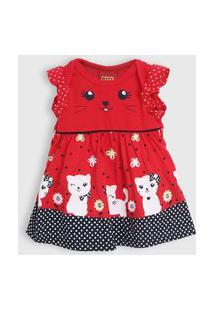 Vestido Kyly Infantil Gatinho Vermelho