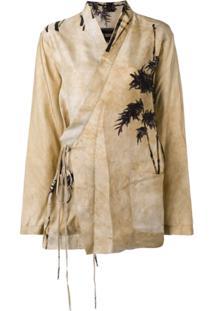 Uma Wang Printed Kimono Blazer - Marrom