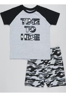 "Pijama Infantil Raglan ""Time To Hide"" Manga Curta Cinza Mescla"