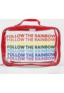 """Nécessaire """"Follow The Rainbow"""" Com Alça Vermelha - Único"""