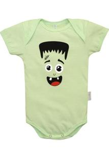 Body Manga Curta Bebê Nigambi Monstrinho Masculino - Masculino-Verde Claro