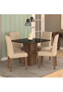 Conjunto De Mesa De Jantar Quadrada Rafaela Com 4 Cadeiras Milena Suede Bege E Preto