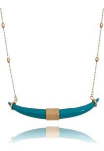 Colar Lua Mia Joias Bolinhas Com Dente De Sabre Azul Tiffany Banho Dourado