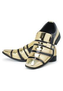 Sapato Social Masculino Verniz Brilhoso Dourado/Preto