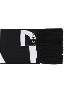 Givenchy Cachecol De Jacquard E Algodão Com Logo - Preto